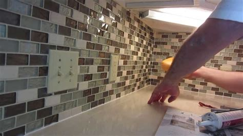 how to install glass mosaic tile backsplash inside