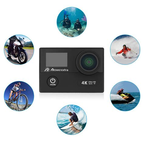 Terbatas Waterproof Sports 4k Ultra Hd 12mp 2 Inch Lcd powerextra 4k waterproof sport ultra hd camcorder 12mp wifi 170 wide angle