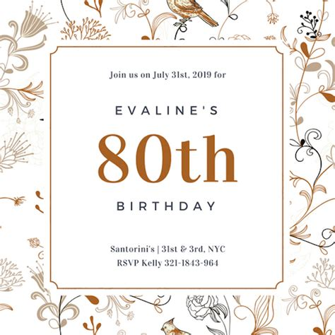 free 80th birthday card template invitation maker design your own custom invitation cards