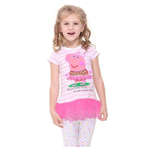 Dress Top Stripe With Tutu Pink ballet peppa pig baby striped top dress pink tutu skirt t shirt 2t 6t ebay