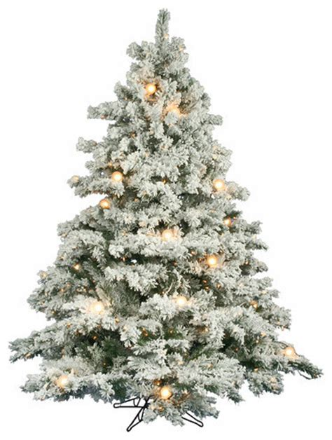flocked alaskan 6 5 artificial christmas tree with clear