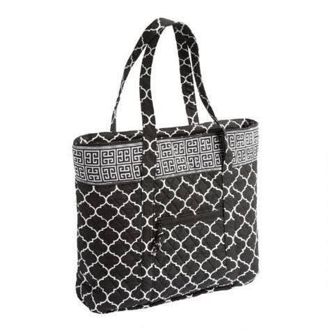 pattern large tote bag black white medallion large quilted tote bag with pattern