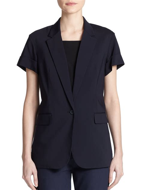 sleeve blazer lyst theory aren sleeve blazer in blue