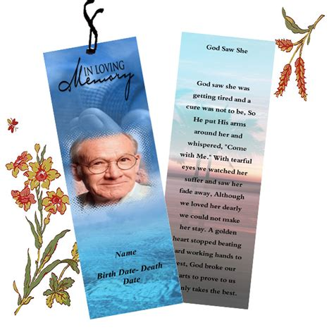 memorial bookmarks template free funeral bookmarks template templates for funeral bookmarks