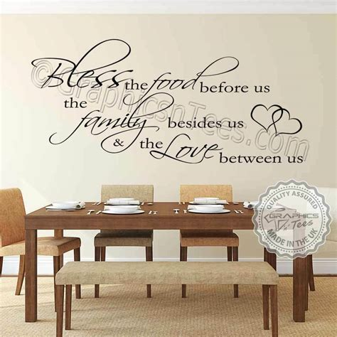 inspirational family wall sticker bless food kitchen dining room quote decal ebay
