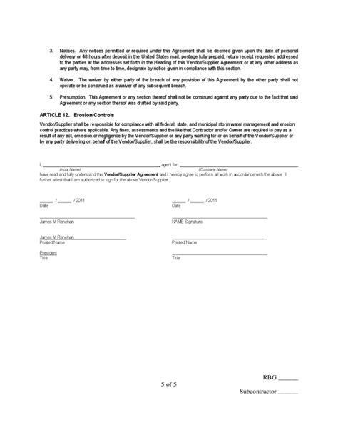 supplier agreement template vendor supplier agreement free