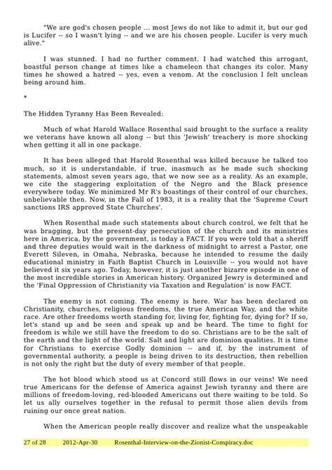 Zionist Conspiracy zealot files rosenthal on the zionist conspiracy