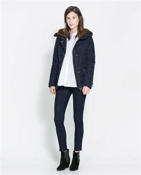 Zara Quilted Jacket With by Zara Quilted Jacket With In Blue Lyst