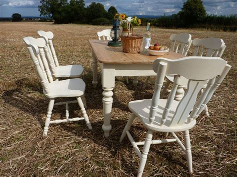 pine dining table and 6 chairs pine farmhouse table and 6 chairs painted vintage antique