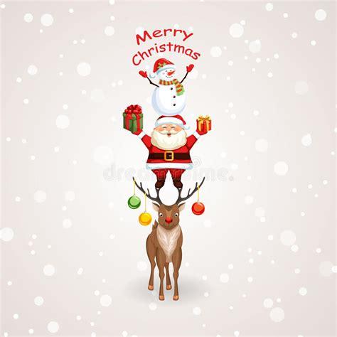 arboles de naviadad con santa clous 193 rbol de navidad con santa claus el reno y el mu 241 eco de nieve ilustraci 243 n vector imagen