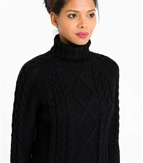 Pura Femme black wool s aran polo neck jumper woolovers
