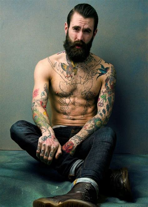 hot tattoo artist male beard tattoo muscle we love beard hairy