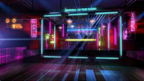 neon noir nyc heros  dark comic  installation
