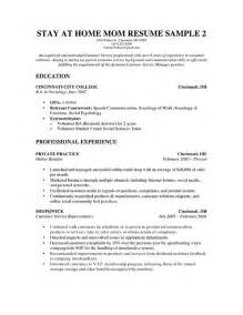 resume exles for returning to work free resume