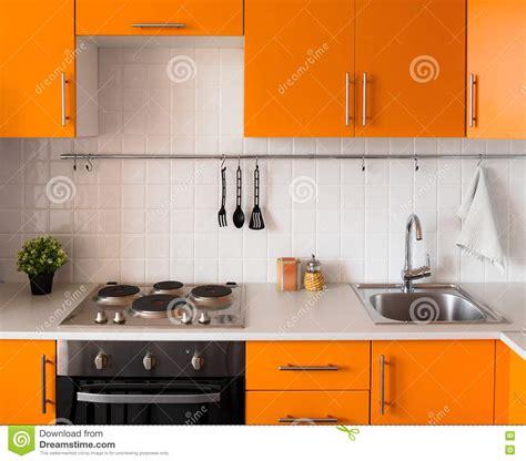 cucina arancione cucina arancione moderna fotografia stock immagine di