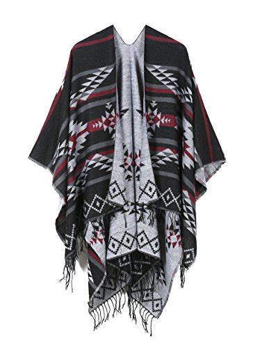 juruaa fringe fleece shoulder wrap batwing blanket sweater