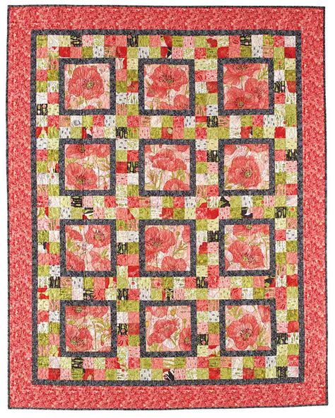 pattern for fabric poppy pretty poppy floral quilt pattern from fons porter the