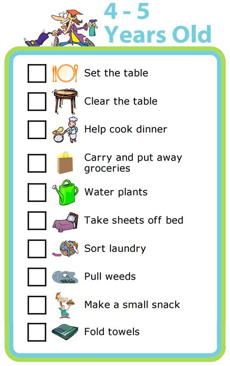 6 best images of 5 year old chore chart 3 year old chore chores by age the trip clip