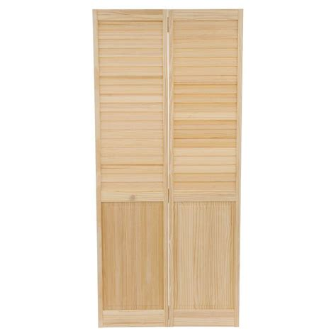 Solid Wood Bifold Closet Doors Bay 36 In X 80 In 36 In Plantation Louvered Solid Unfinished Panel Wood