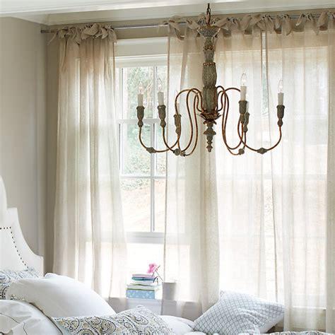 Ballard Designs Outdoor Lighting linen sheer tie top panel traditional curtains by