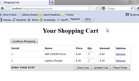 tutorial php online shop how to build shopping cart w checkout in php free