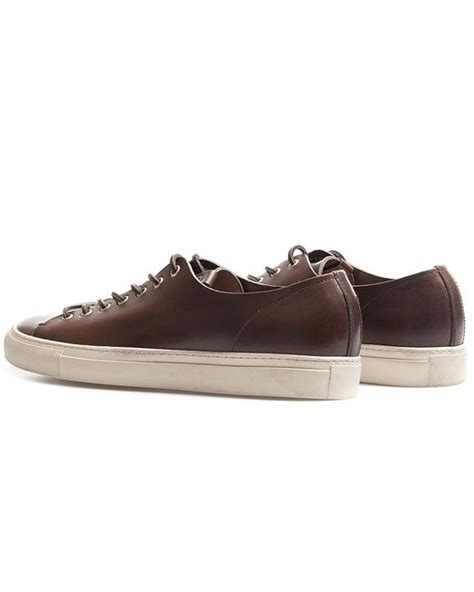 low profile sneakers buttero brown leather tanino low profile sneakers in