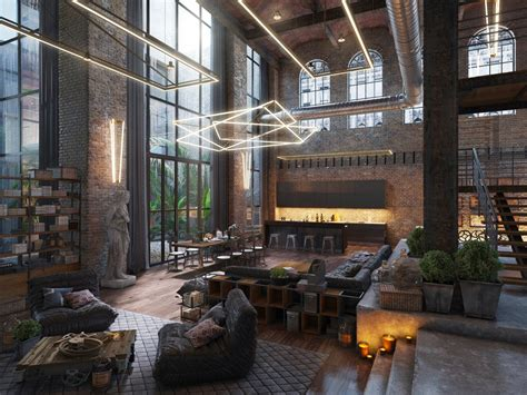 industrial style loft living room design with modern industrial style