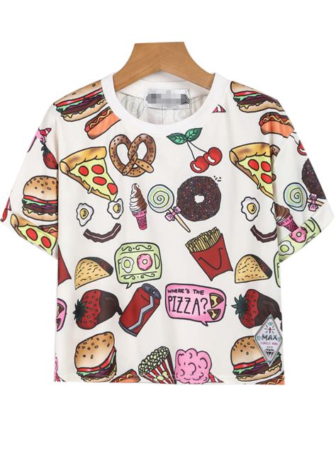 Food Tshirt food print teefor romwe