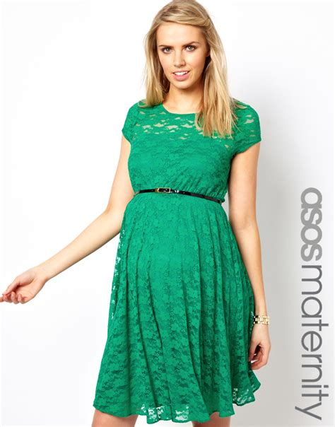 asos maternity lace skater dress with belt maternity