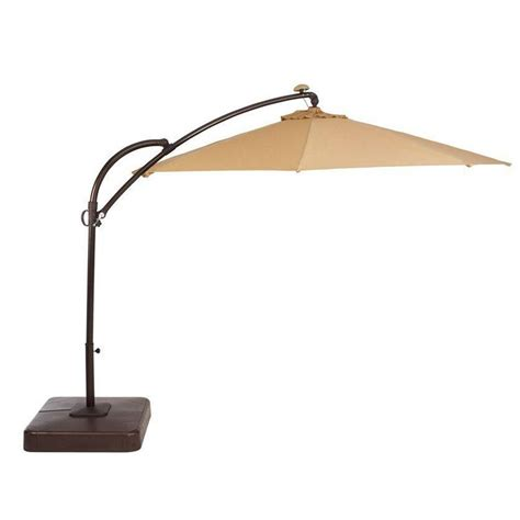 11 Ft Offset Patio Umbrella 11 Ft Solar Patio Umbrella In Beige Uxm01602c The Home Depot