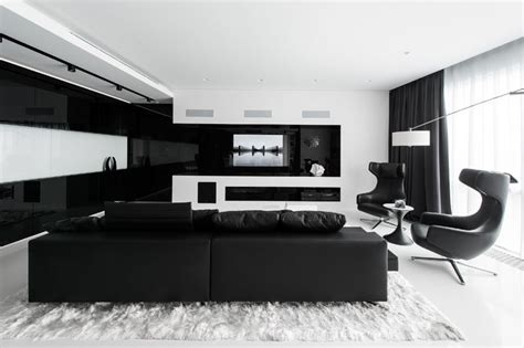 black and white tv room this apartment has an almost entirely black and white interior contemporist
