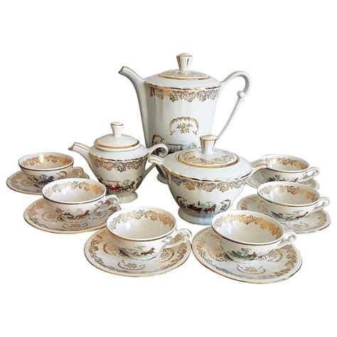 Classic Lovely Tea Sets by Classic Italian White And Gold Porcelain Tea Set For Sale