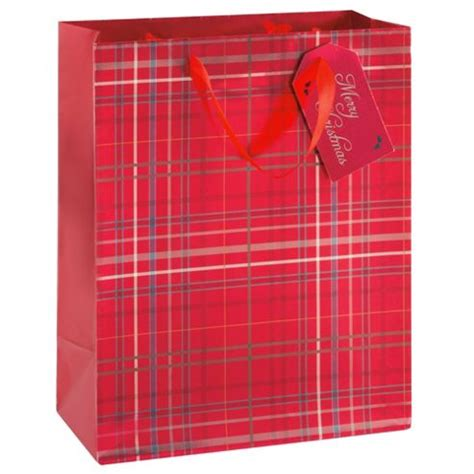 buy tesco red tartan christmas gift bag large from our