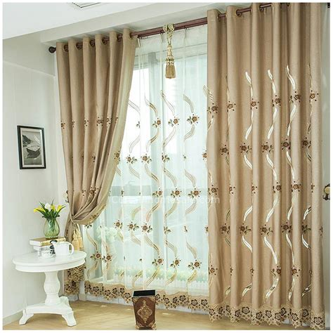 curtains for a living room scottish lace curtains in coffee color for energy saving