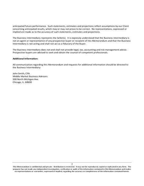 confidential information memorandum free download