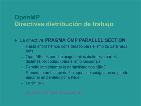 pragma omp parallel sections programaci 243 n con paralelismo impl 237 cito p 225 gina 3