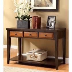 America dark oak amp cherry sente transitional 3 storage drawer console