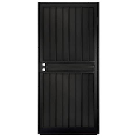 unique home designs 36 in x 80 in guardian black surface mount outswing steel security door