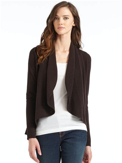 open front draped cardigan blue saks fifth avenue draped open front cashmere cardigan