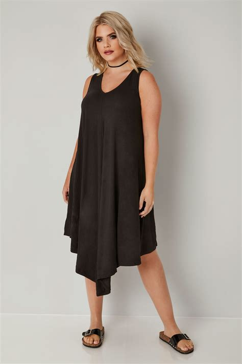 swing dress black jersey asymmetric swing dress plus size 16 to 36