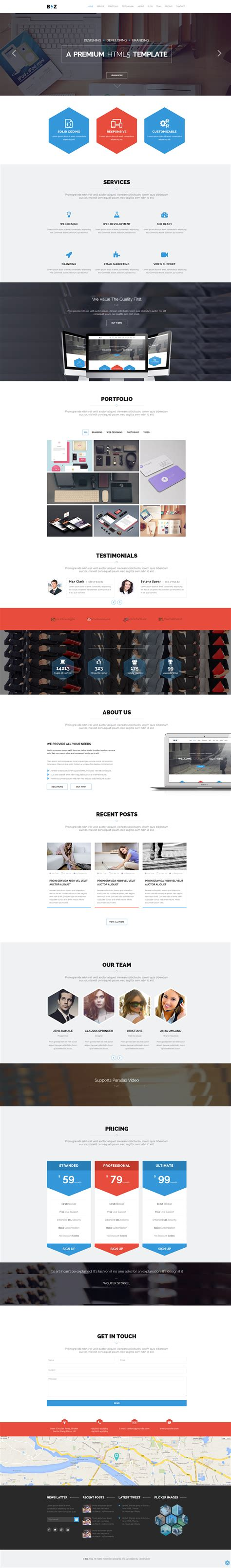 biz one page parallax html template by codexcoder