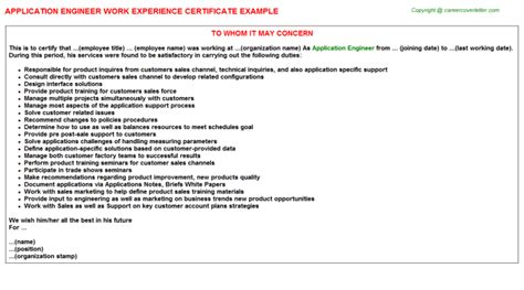 Work Experience Letter Application Application Engineer Title