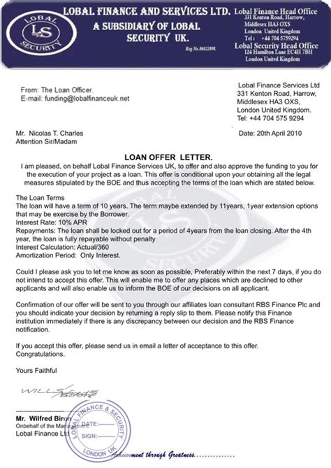 Loan Letter Of Offer Sle Business Loan Letter Free Printable Documents