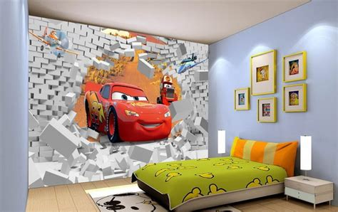 wallpaper for kids bedrooms free shipping eco friendy 3d huge mural cartoon car papel