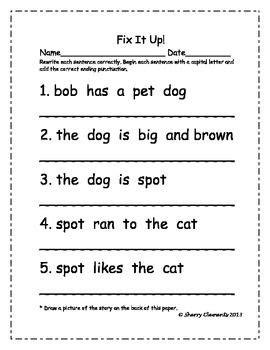 up letter punctuation fix it up sentences capital letters and ending