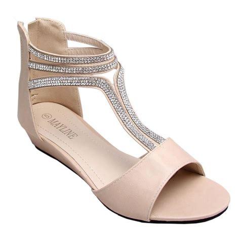 Women Ladies Low Heel Wedge Diamante Fancy Shoes Sandal