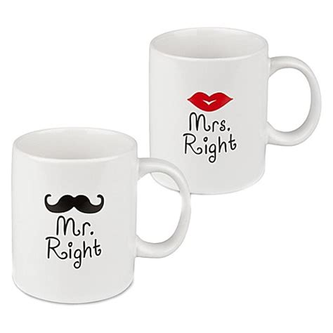 hers bed bath and beyond waechtersbach quot mr and mrs right quot his and hers mugs set