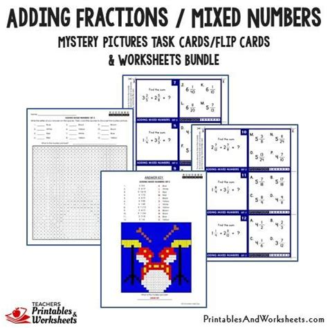 printable mixed number cards adding fractions task cards and worksheets bundle