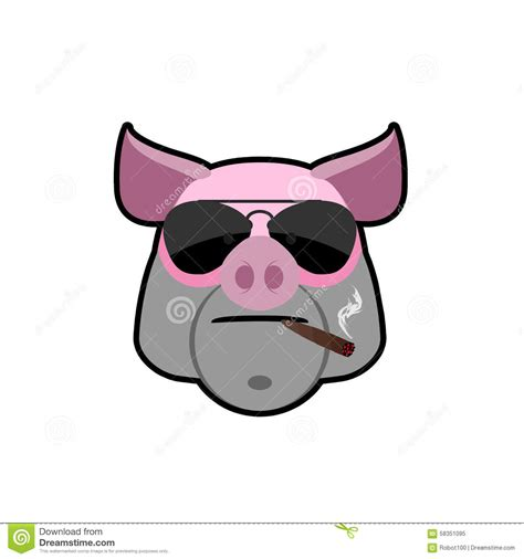 Angry Boar Pig Head With Glasses And A Cigarette Animal