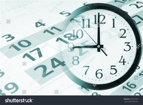 Calendar With Clock Collage With Clock And Calendar Time Concept Stock Photo